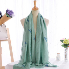 Women Fashion Dragonfly Embroidered Cotton Long Scarf (YKY1140)