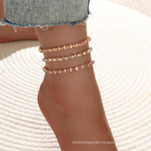 Simple and Sweet Pink Claw Chain Copper Buckle Foot Ornaments Multi-Layer 3-Piece Crystal Set Anklet