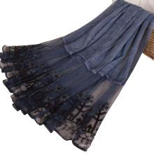 TINGYU Lieferant Großhandel Einfarbige Baumwolle Spitze Moslemisches Hijab