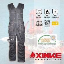Babero-pantalones de trabajo resistentes al fuego funcionales de algodón / nylon