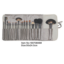 18pcs dark gray plastic handle aniamal/nylon hair makeup brush tool set with matching color gray canvas case
