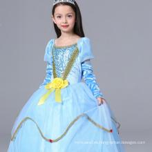 ropa de venta caliente para bebés princesa de película de dibujos animados grandes vestidos de bola manga larga azul manga completa en venta para el rendimiento
