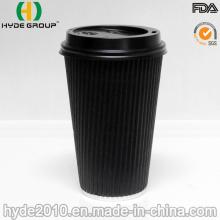 Copo de café de papel de parede dupla descartável resistente ao calor (16 oz)