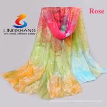 El último diseño de la nueva manera de Lingshang 2015 diseña para la bufanda mágica del pashmina del mantón de la gasa de la impresión de la flor de la bufanda de las señoras