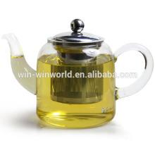 Théière en verre borosilicaté avec infuseur en acier inoxydable et verre