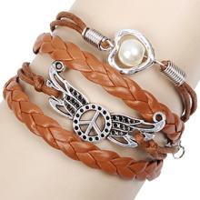 Peace Love Wings original designs hand-woven infinity bracelets jewelry wholesale brown leather cord women's bracelets