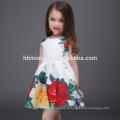 2017 vente chaude sans manches floral enfants fille robe imprimée coton bébé fille robe d'été