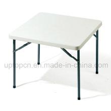 Table carrée en métal abordable avec plateau en plastique blanc (SP-GT379)