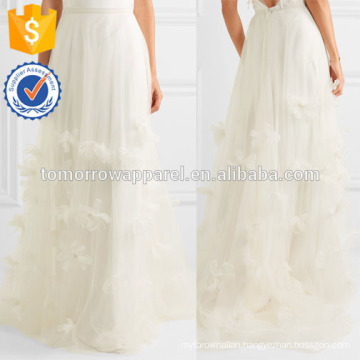 New Fashion Organza And Feather Appliqued Silk Skirt DEM/DOM Manufacture Wholesale Fashion Women Apparel (TA5140S)