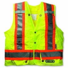 100% Polyester Knitting Fabric Safety Vest with Caution Tape
