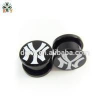 Black Pattern Acrílico piercing plugues orelha gauge corpo jóias