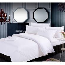 2015 Nuevo Plain Blanco Poly / Algodón tejido bordado Hotel hoja de cama conjunto