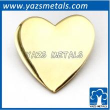 Crachá de pino de coração / chapa de prata feito sob encomenda