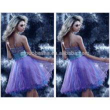 2014 Hot Sale Sweetheart Au-dessus du genou Tulle Jupe Short A-Line Robe Homecoming Robe perlée à la robe Robe graduée NB0836