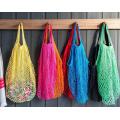 Hand Knit Crochet Net Shopping Bag, Cotton Mesh Bag