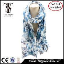 Blue color flora printed very soft lady fashion design scarf