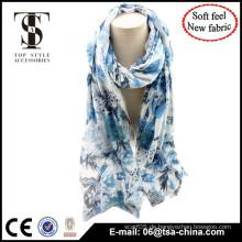 Blaue Farbe Flora gedruckt sehr weichen Dame Mode Design Schal
