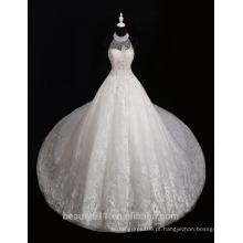 Últimos desenhos 2017 Elegant A-Line de colarinho alto Cap Sleeve Andar de comprimento Modest Beaded Lace Wedding Dress F13802