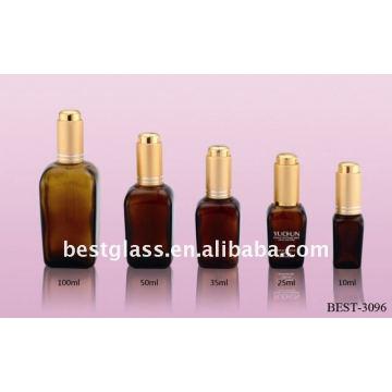 10/25/35/50 / 100ml botella de vidrio de aceite esencial marrón cuadrado con cuentagotas de aluminio