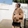 Newest real reversible blue fox fur coat for women jacket winter