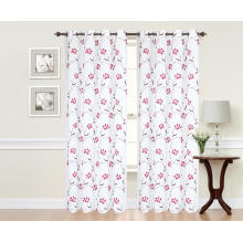 Pure Polyester Embroidered Curtain Fabric With Floral Pattern