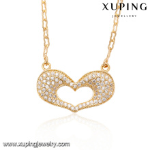41527-fine bijoux collier en or 18 carats avec coeur en porcelaine et diamants