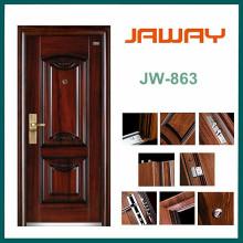Puertas de seguridad de acero de una sola hoja de entrada de fábrica de alta calidad del fabricante Residencial