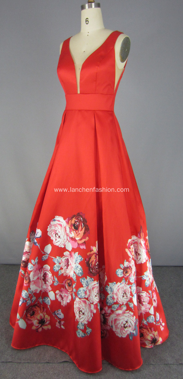 Vintage Red Long Floral Wedding Prom Dresses