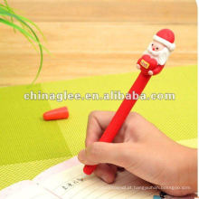 Venda por atacado de canetas de bola de Natal com Papai Noel, canetas de venda quente.