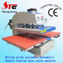 Bas Glide Station Double pneumatique automatique chaleur Press Machine 40 * 60cm T-Shirt Printing Machine pneumatique Double Station chaleur transfert Machine