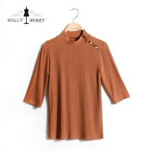 Tops femininos Diferentes modelos de blusa respirável com mangas de três quartos com listra vertical
