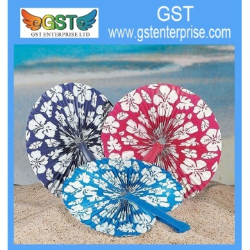 Hibiscus Paper Folding Fans with Handle 9.75 inches