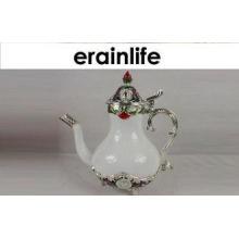 White Ceramic Ceramic Coffee Pot Tea Kettle Set 400 Millili