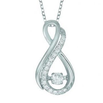 18k White Gold Infinity Dancing Diamond Pendants Jewelry