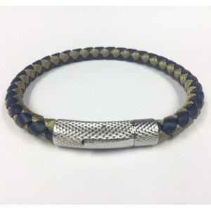 Mens Braided Leather Magnetic Genggam Bangle Bracelet