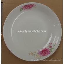 Plat mignonne en céramique blanche de plat de porcelaine de 8 pouces plat pour le fruit de casse-croûte de gâteau
