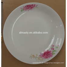 Moda Bonito 8 Polegada Cerâmica Branca Porcelana Placas De Jantar Prato Para Bolo Fruto Lanche Alimentos