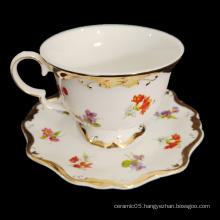 European style 15PCS   flower gold rim ceramic tea ware for 6 person porcelain coffee cup and saucer  Tea Set