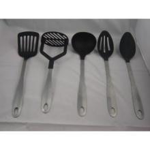 5pc nylon kitchen tools,nylon kitchenware with steel handle