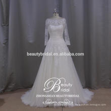 lebanon designer popular illusion long sleeves wedding gown see through a-line wedding dress