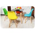 Оптовый пластиковый стул с деревянной ногой