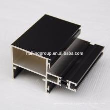 Perfil de extrusão de alumínio preto anodizado