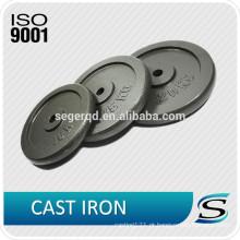 placa de levantamento de peso ferro fundido preto pintura