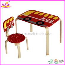 Meubles en bois pour enfants - Bureau d'étude en bois pour enfants et chaise (W08G075)