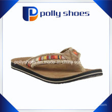 Women′s Top Logo Dark Brown Fashion Flip Flop Sandal Shoes