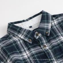 Camisa masculina de manga comprida com gola xadrez camisas de algodão