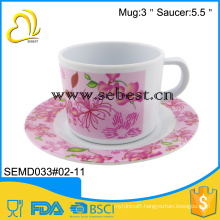 beautiful Printing drinkware set round saucers drinking water tea cup