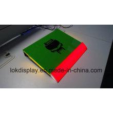 Caixa de exibição acrílica colorida de LED, mostrador de exibição acrílica de ponto de venda