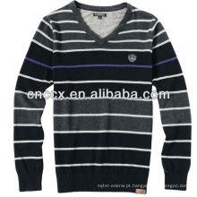 13STC5113 listrado cor mens v pescoço camisola