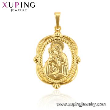 33182 jóias xuping 24k banhado a ouro Santo Mãe simples rodada religiosa pingente
